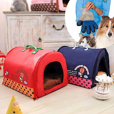 寵物貴族 韓國熱銷高質感寵物窩 附可愛法蘭絨骨頭/超軟內墊/潔毛按摩手套2入
