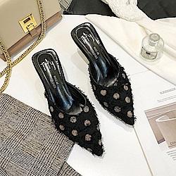 KEITH-WILL時尚鞋館 明星款萊卡網布點點細跟鞋-黑色