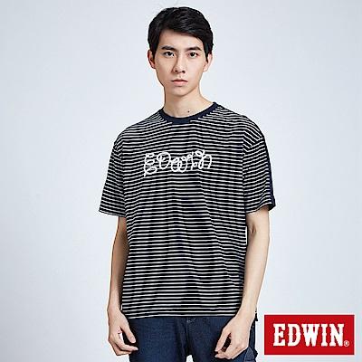EDWIN 築地系列雙面拼條繡花短袖T恤-男-丈青