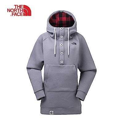 The North Face北面女款灰色保暖舒適連帽T恤|3L76DYX