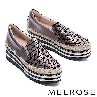 休閒鞋 MELROSE 幾何魅力異材質拼接全真皮厚底休閒鞋-古銅