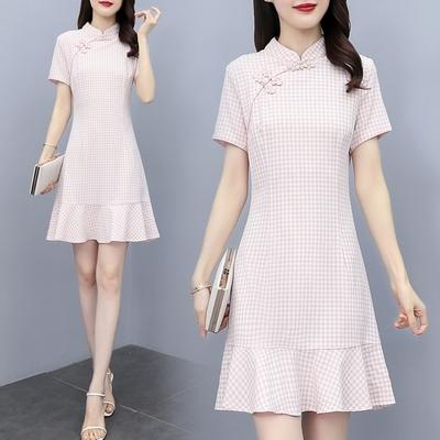 優雅粉格中式立領改良旗袍洋裝M-3XL-REKO