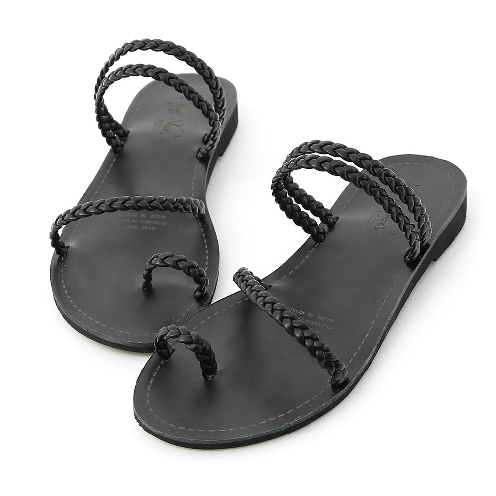 D+AF 盛夏氣息.麻辮編織平底涼拖鞋*黑