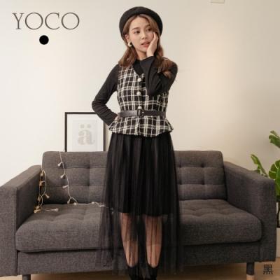 東京著衣-YOCO 浪漫名媛格紋背心附腰帶+內搭網紗裙兩件式洋裝
