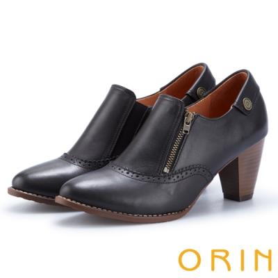 ORIN 經典復古 牛皮雕花拉鍊粗跟裸靴-黑色