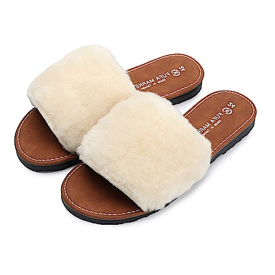 BuyGlasses 蓬鬆都是毛暖暖拖鞋-米