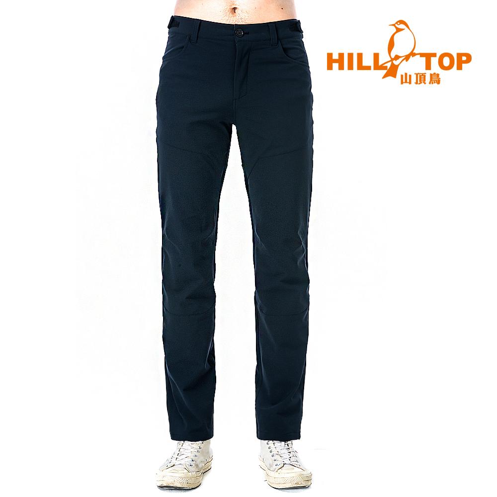 【hilltop山頂鳥】男款超潑水彈性保暖長褲H31ML2無煙煤