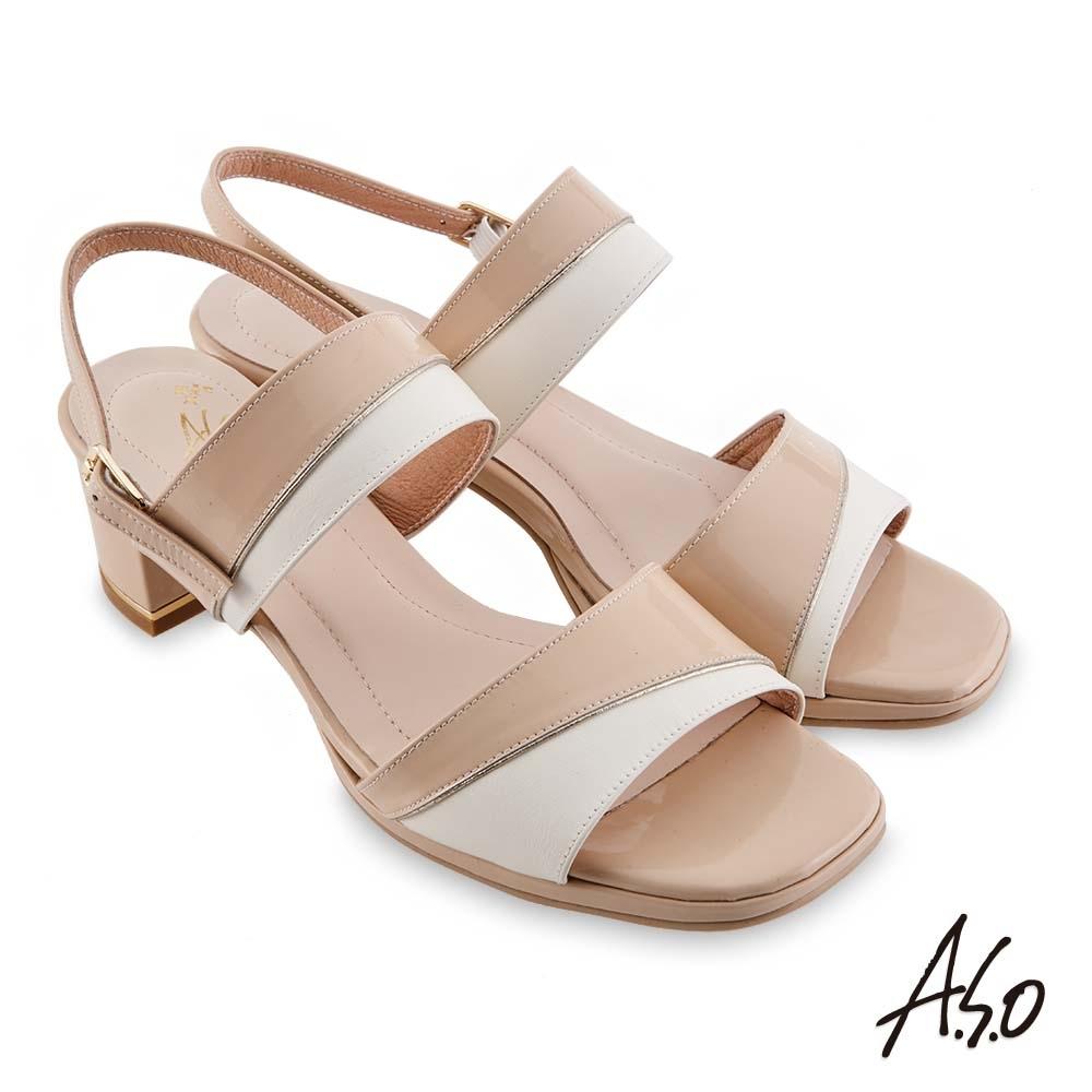A.S.O 時尚流行 摩登時尚撞色金屬粗跟涼鞋-卡其