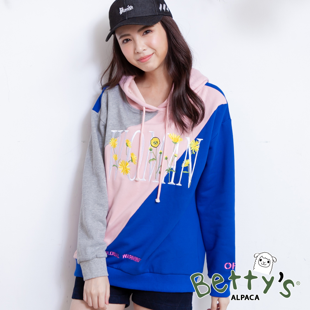 betty's貝蒂思 小花刺繡抽繩連帽配色T-shirt(灰粉藍) @ Y!購物