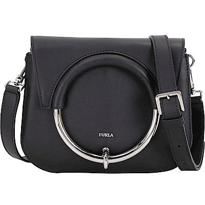 FURLA Margherita 小款 金屬環系列牛皮肩背包(黑色)