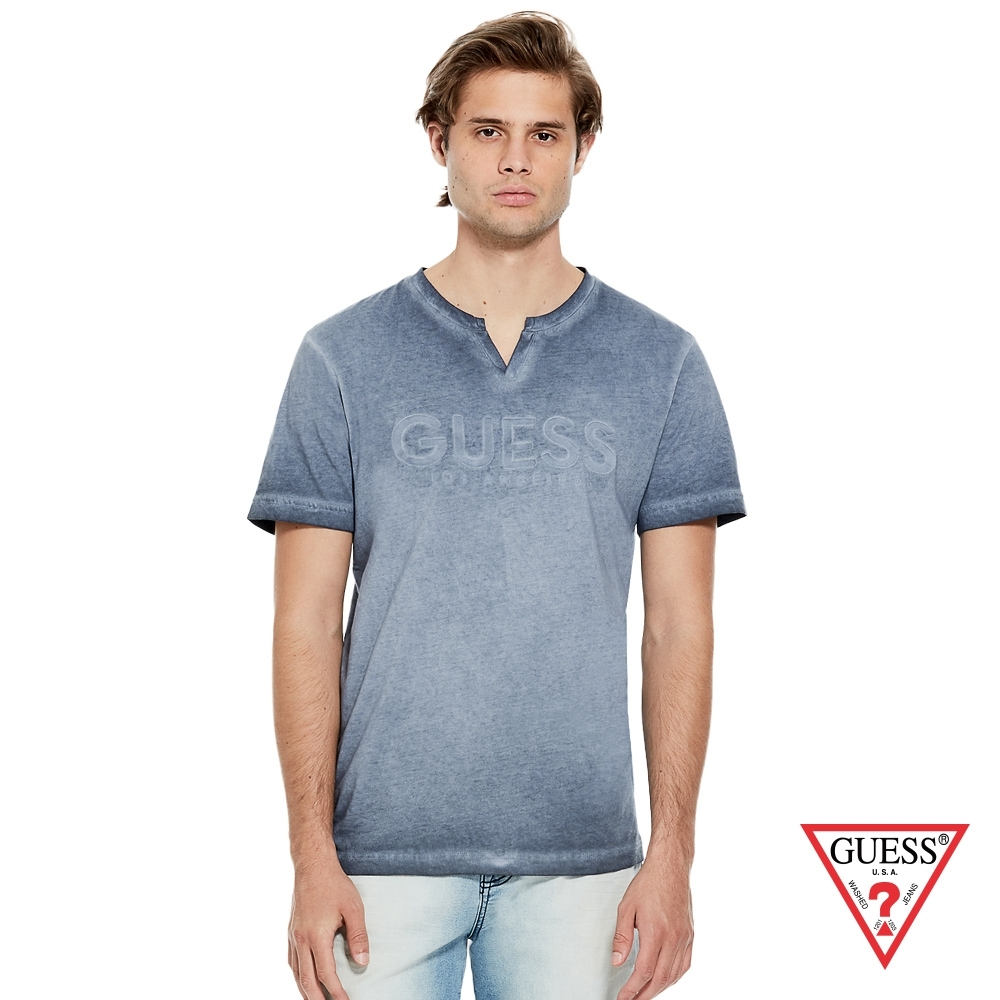 GUESS-男裝-V領經典LOGO短T,T恤-藍 product image 1