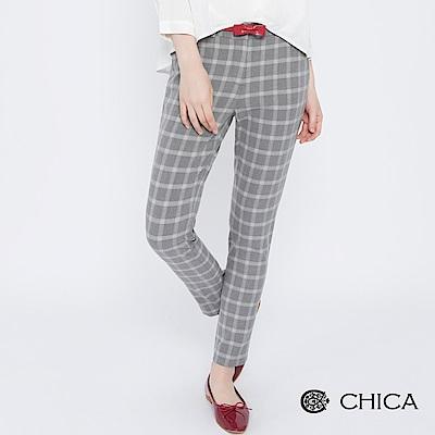 CHICA 復刻樓閣配色格紋修身直筒褲(2色)