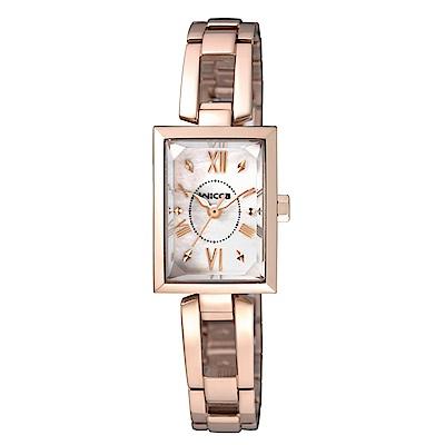 CITIZEN wicca法式優雅甜心腕錶/玫瑰金x貝殼面/BE1-020-11