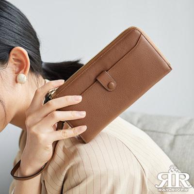 2R 頭層牛皮 luxury 手感拉鍊長夾 焦糖棕