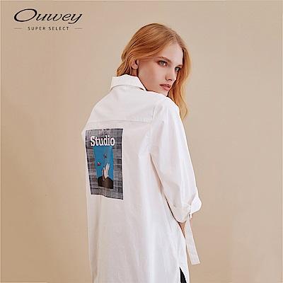 OUWEY歐薇 後片燙畫七分袖素色襯衫(白)