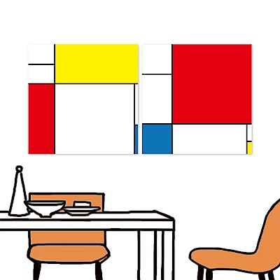 橙品油畫布 二聯 時尚無框畫掛畫-黃金比例 40x40cm