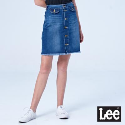 Lee 牛仔短裙 金屬色排釦短裙 女 中藍