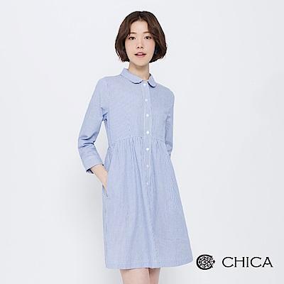 CHICA 漫遊英倫圓領排釦襯衫洋裝(2色)