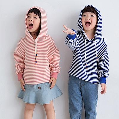 高含棉橫條紋抽繩造型連帽衛衣/上衣-OB大尺碼