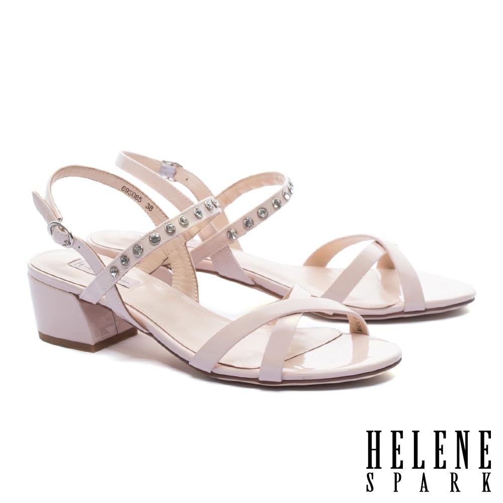 涼鞋 HELENE SPARK 簡約設計交叉繫帶晶鑽純色全真皮低跟涼鞋-粉