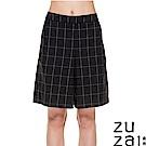 zuzai 自在輕感格紋百慕達短褲-女 黑色