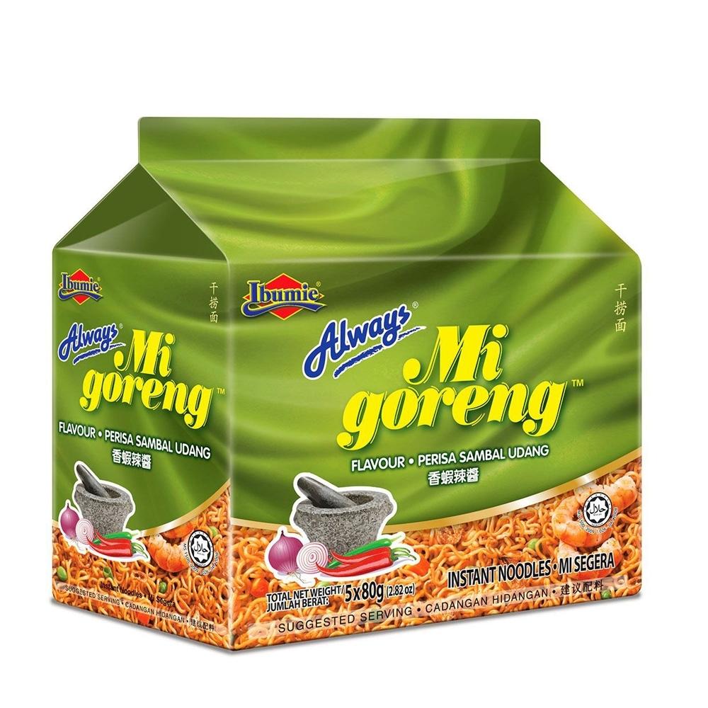 馬來西亞 Always-香蝦味辣醬乾撈麵(經濟包) 80gx5包