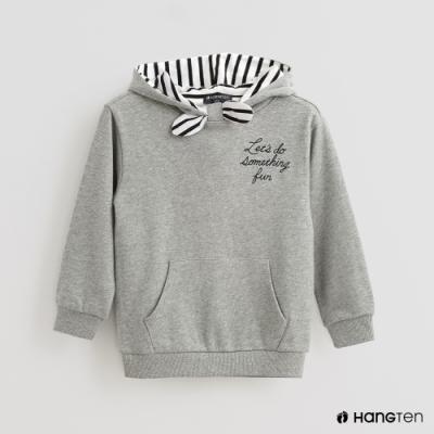 Hang Ten -童裝 - 格紋領結連帽造型長袖上衣 - 灰