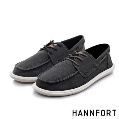 HANNFORT COZY可機洗樂福氣墊休閒鞋-男-質感黑