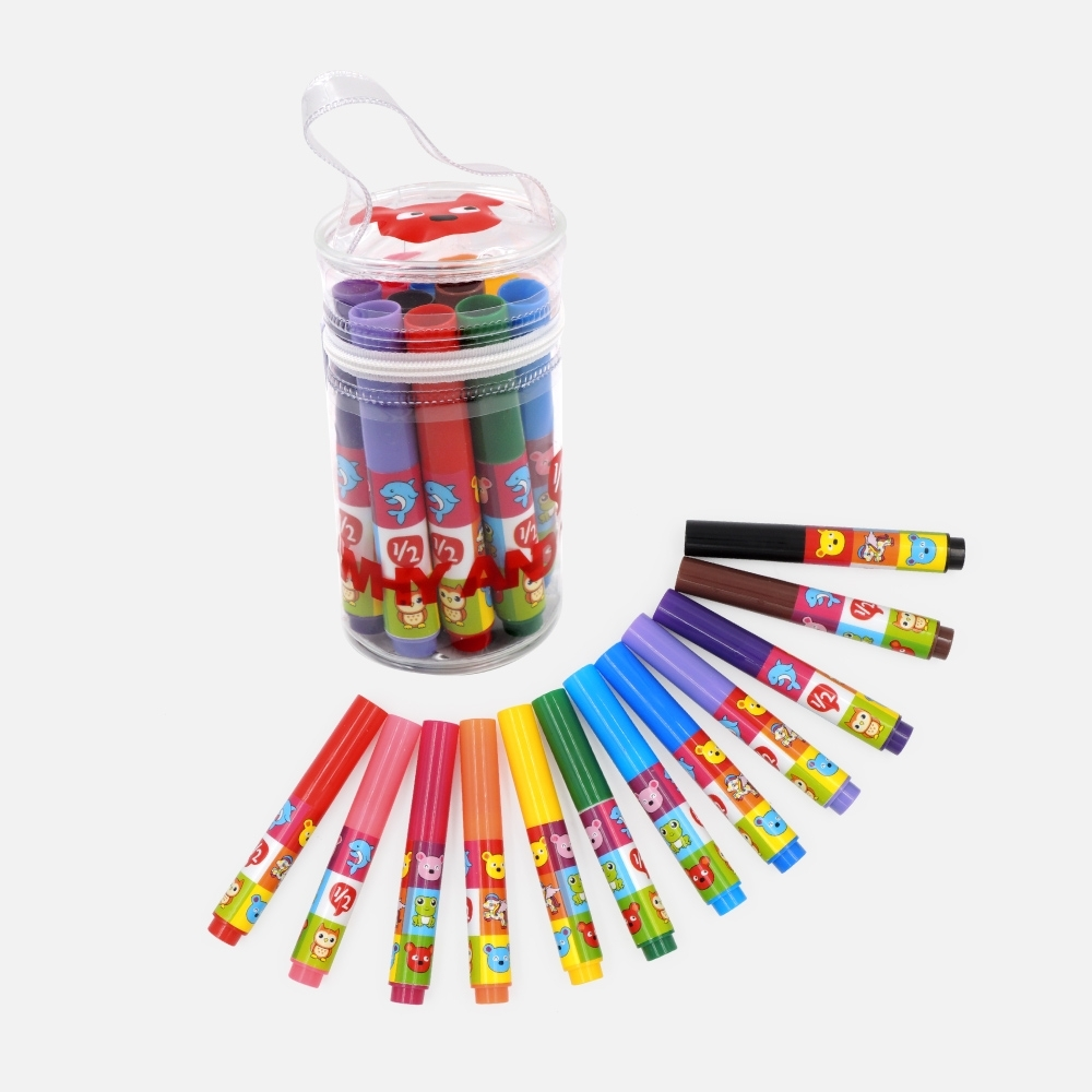 WHY AND 1/2 12色水性彩色筆組-附提袋