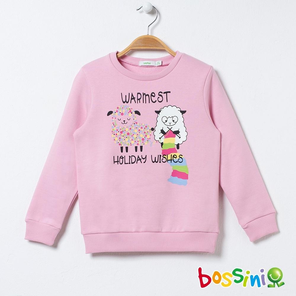 bossini女童-圖案圓領厚棉T恤(內刷毛)04粉色