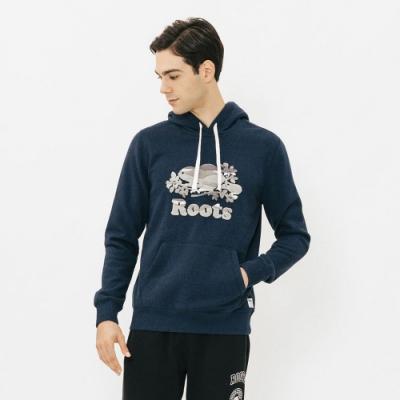 男裝Roots 藍斯蓋普刷毛連帽上衣-藍