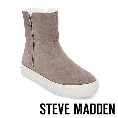 STEVE MADDEN-GARRSON毛絨厚底拉鍊短靴-絨灰