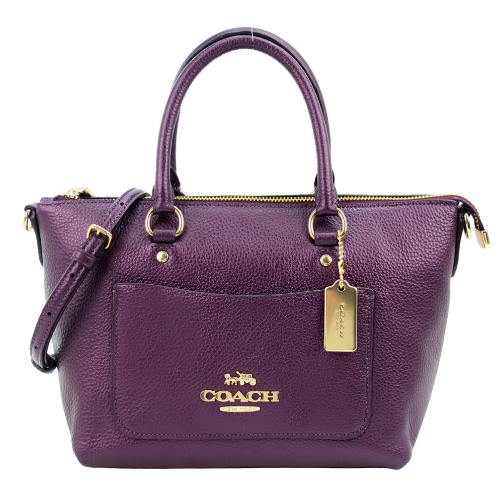COACH EMMA立體馬車LOGO珠光前口袋手提/斜背兩用托特包(小/覆盆紫)COACH