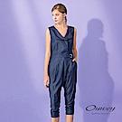 OUWEY歐薇 輕薄牛仔無袖造型連身褲(藍)