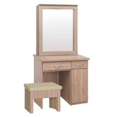 綠活居 普洛2.8尺側推鏡面鏡台/化妝台組合(含化妝椅)-86x41x168cm免組
