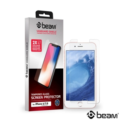 【BEAM】 iPhone 8/7/6/6s 透明耐衝擊鋼化玻璃保護貼