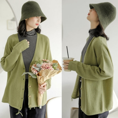 針織外套-軟糯觸感100羊毛毛衣寬鬆上衣開衫-設計所在