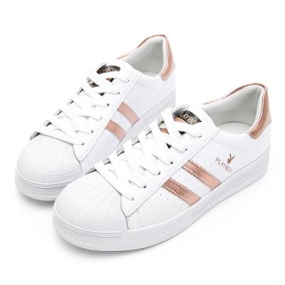 PLAYBOY 經典升級條紋仿皮休閒鞋-玫瑰金-Y63181H