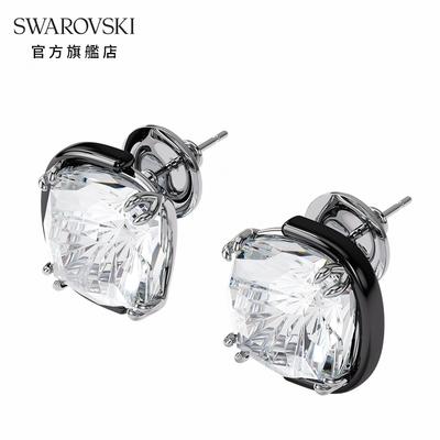 SWAROVSKI 施華洛世奇 HARMONIA 白色枕形水晶金屬穿孔耳環