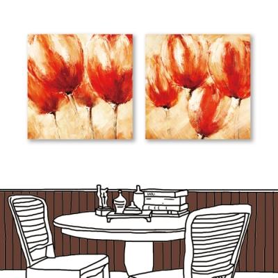 24mama掛畫-二聯式 藝術花卉 紅花 油畫風無框畫 60X60cm-思念