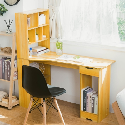 樂嫚妮 多格書櫃型書桌/工作桌/電腦桌-寬120深50高131cm-胡桃木色