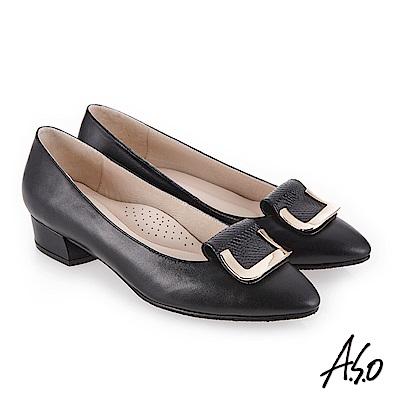 A.S.O 義式簡約 嚴選皮革高跟鞋 黑