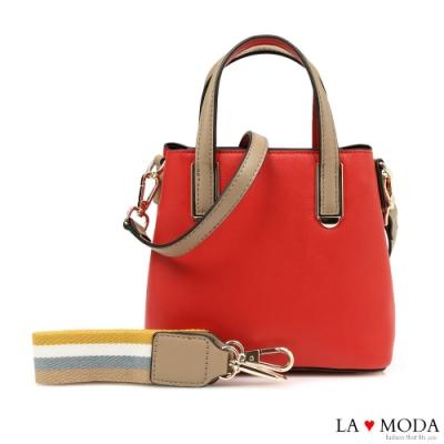 La Moda 百搭單品出遊逛街必備可換背帶輕巧肩背斜背小方包(紅)