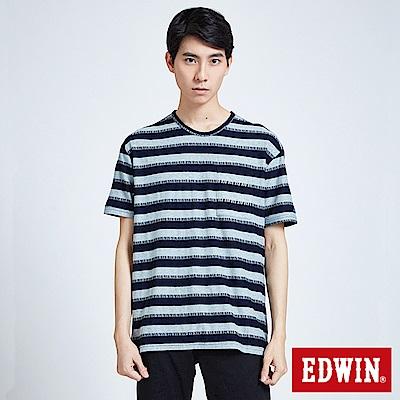 EDWIN 築地系列INDIGO寬條短袖T恤-男-原藍磨