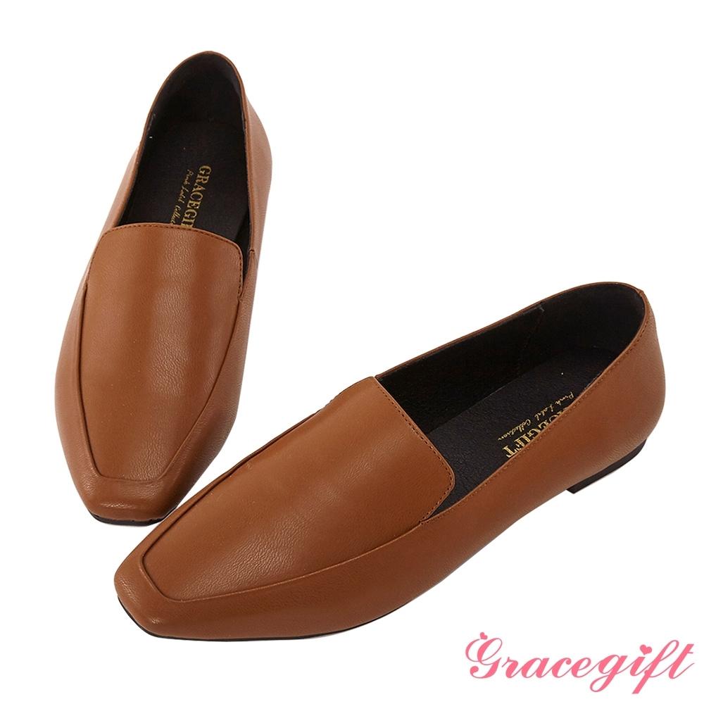 Grace gift-簡約方頭素面樂福鞋 棕