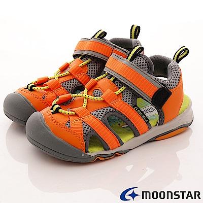 日本月星頂級童鞋 護趾運動涼鞋款 FO223橘(中小童段)