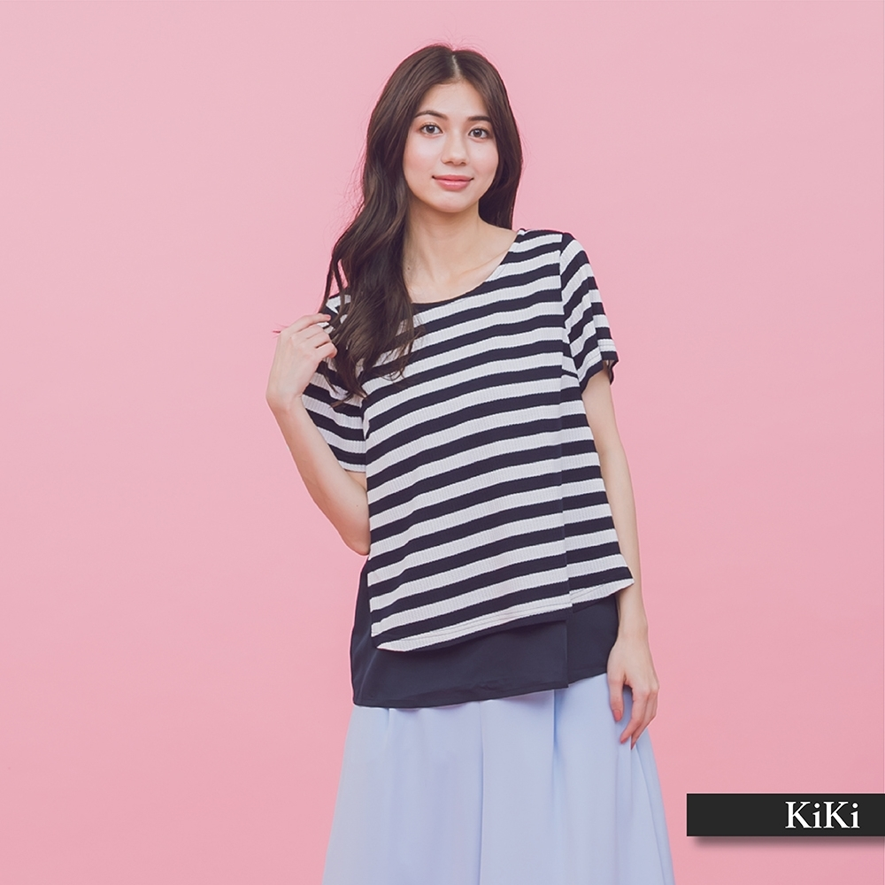 【KiKi】條紋下襬拼接雪紡-上衣(二色)
