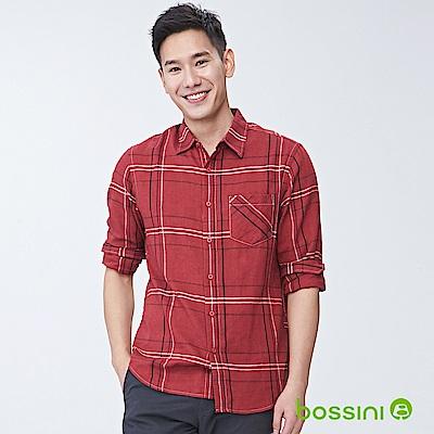 bossini男裝-純棉長袖襯衫06紅褐