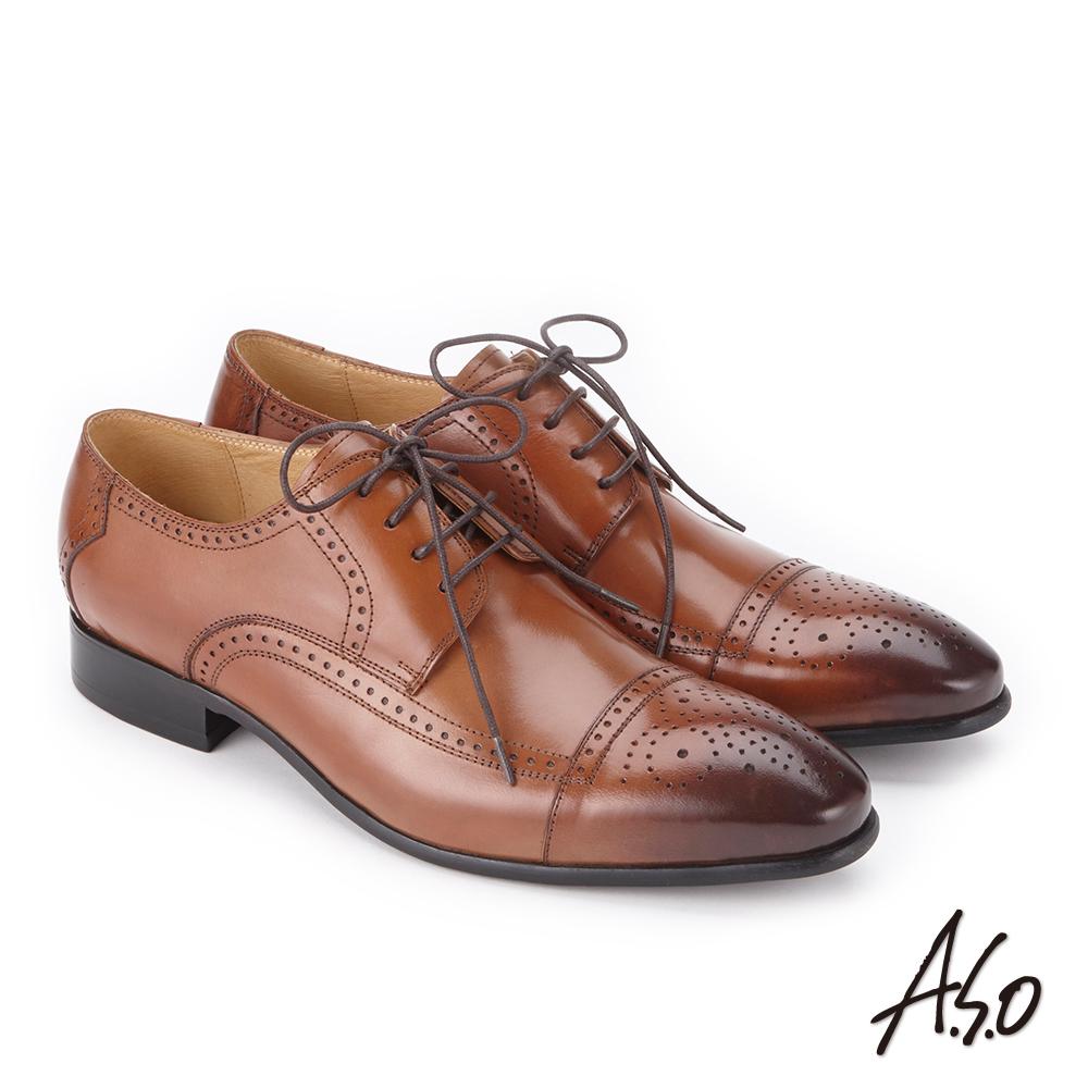 A.S.O 3D超動能 綁帶壓紋牛皮奈米紳士鞋 茶