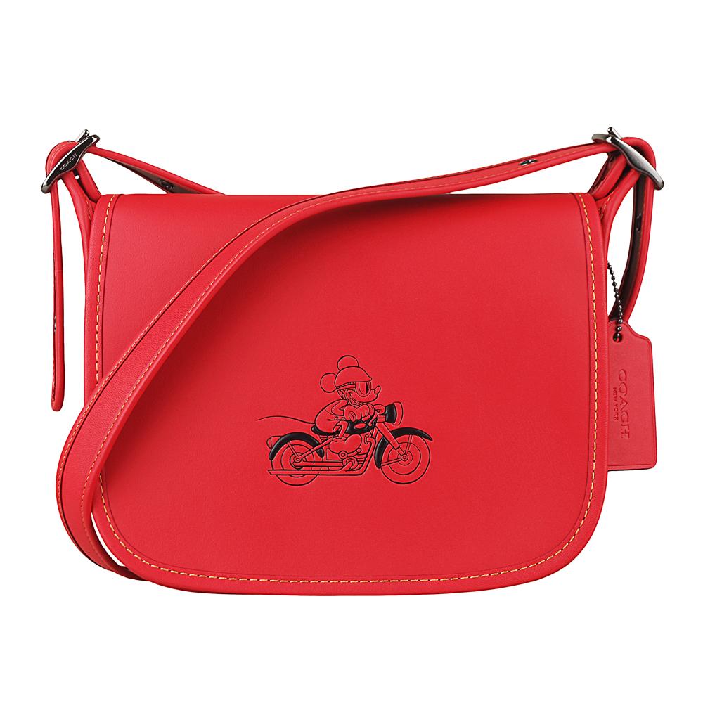 COACH x Disney 聯名款 經典米奇圖騰壓紋牛皮翻蓋拉鍊信差包附絲巾(紅)